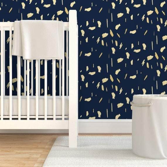 Gold Paint Blobs On Navy Blue By