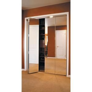 Impact Plus 36 In X 80 In Beveled Edge Mirror Solid Core Mdf Full Lite Interior Closet Wood Bi Fold Door With Chrome Trim Bmp3423068c Bifold Closet Doors Mirrored Bifold Closet Doors Sliding Mirror