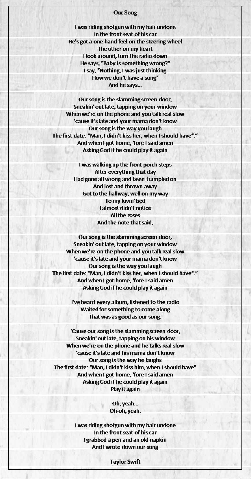 Our song taylor swift lyrics pinterest taylor swift songs our song taylor swift hexwebz Choice Image