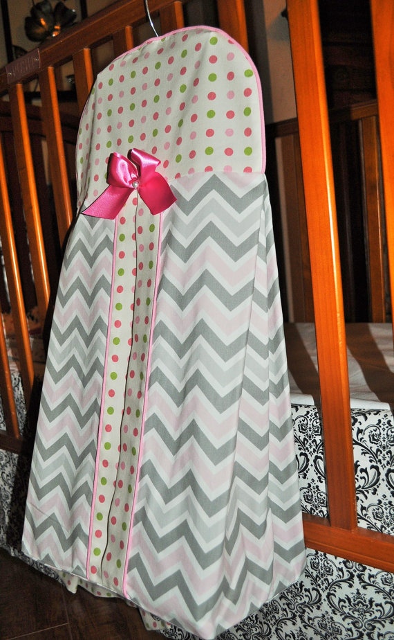 Custom Diaper Stacker In Chevron And Polka Dots By
