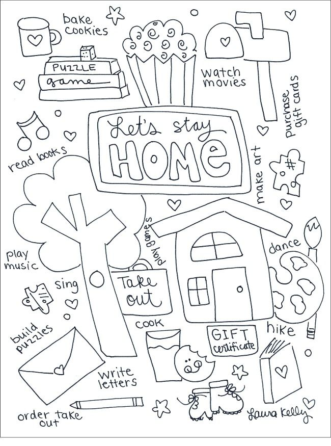 Lets Stay Home Coloring Printable Colouring Printables Free Coloring Summer Coloring Pages