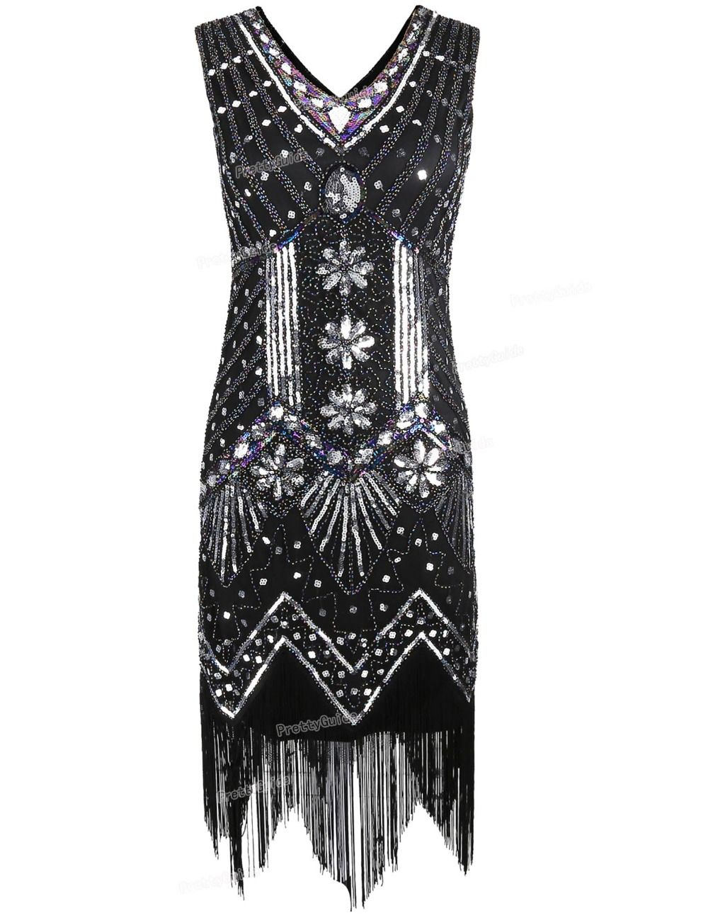 Prettyguide women s v neck beaded sequin art deco gatsby