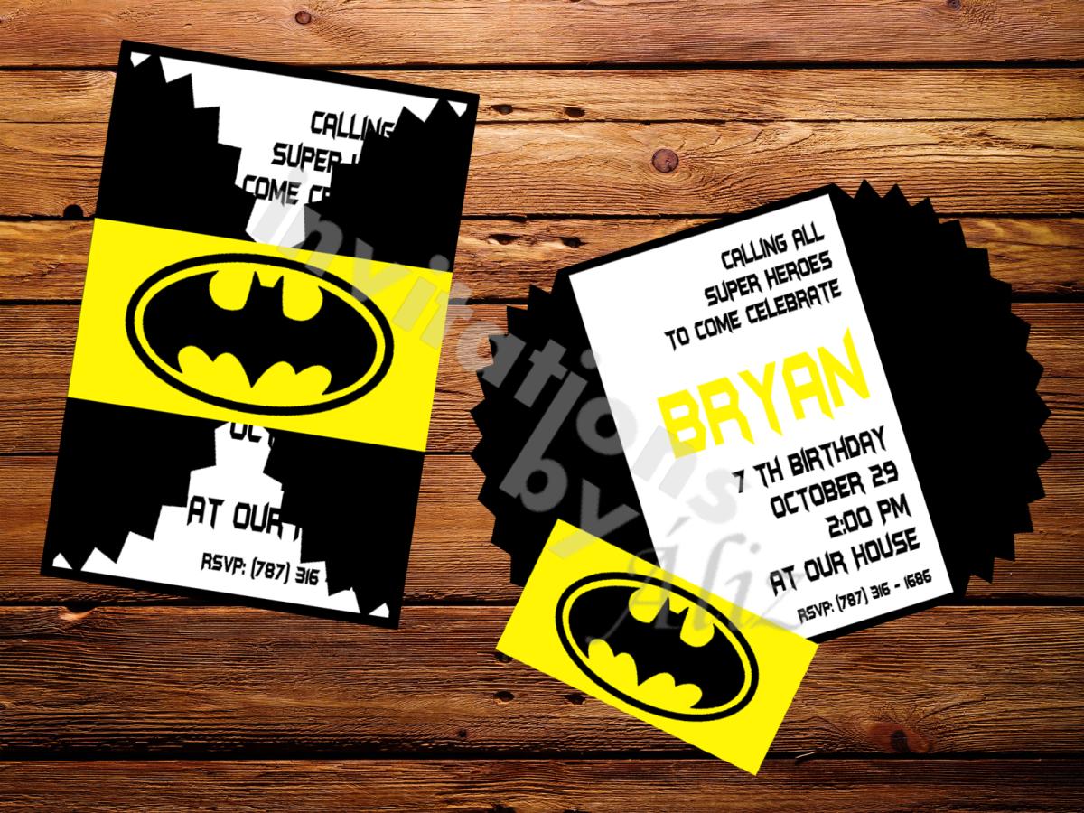Invitación Batman Hecha A Mano Personalizada