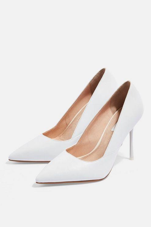 WIDE FIT GIGI White Court Shoes   White