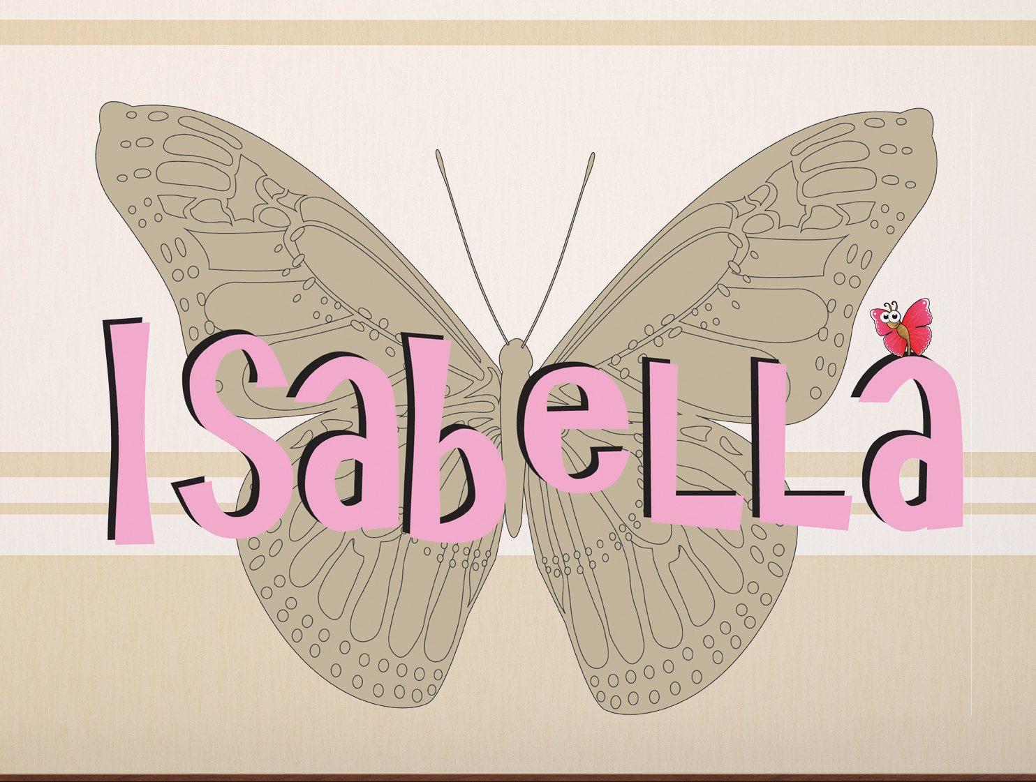 """Girl Personalized Name on big butterfly, High Quality Removable Wall decals Monogram 22""""H x 32""""W  Nom de fille personnalisé sur grand papillon, vinyle haute qualité 22""""H x 32""""Large, Art Mural G14013"""