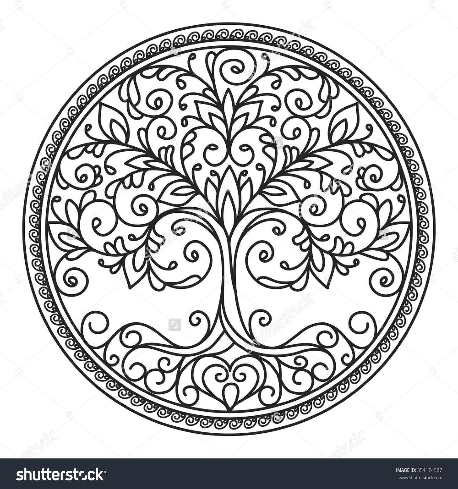 tree mandala decor element vector black and white