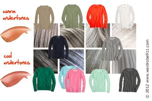 Color Choices For Gray Hair Makeup Clothing Warm And Cool Undertones Core Wardrobe Ideas Grey Hair Color Hair Color Grey Silver Going Gray