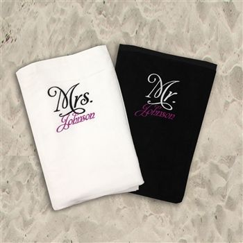 Personalized Mr Mrs Beach Towel Set Personalized Towels