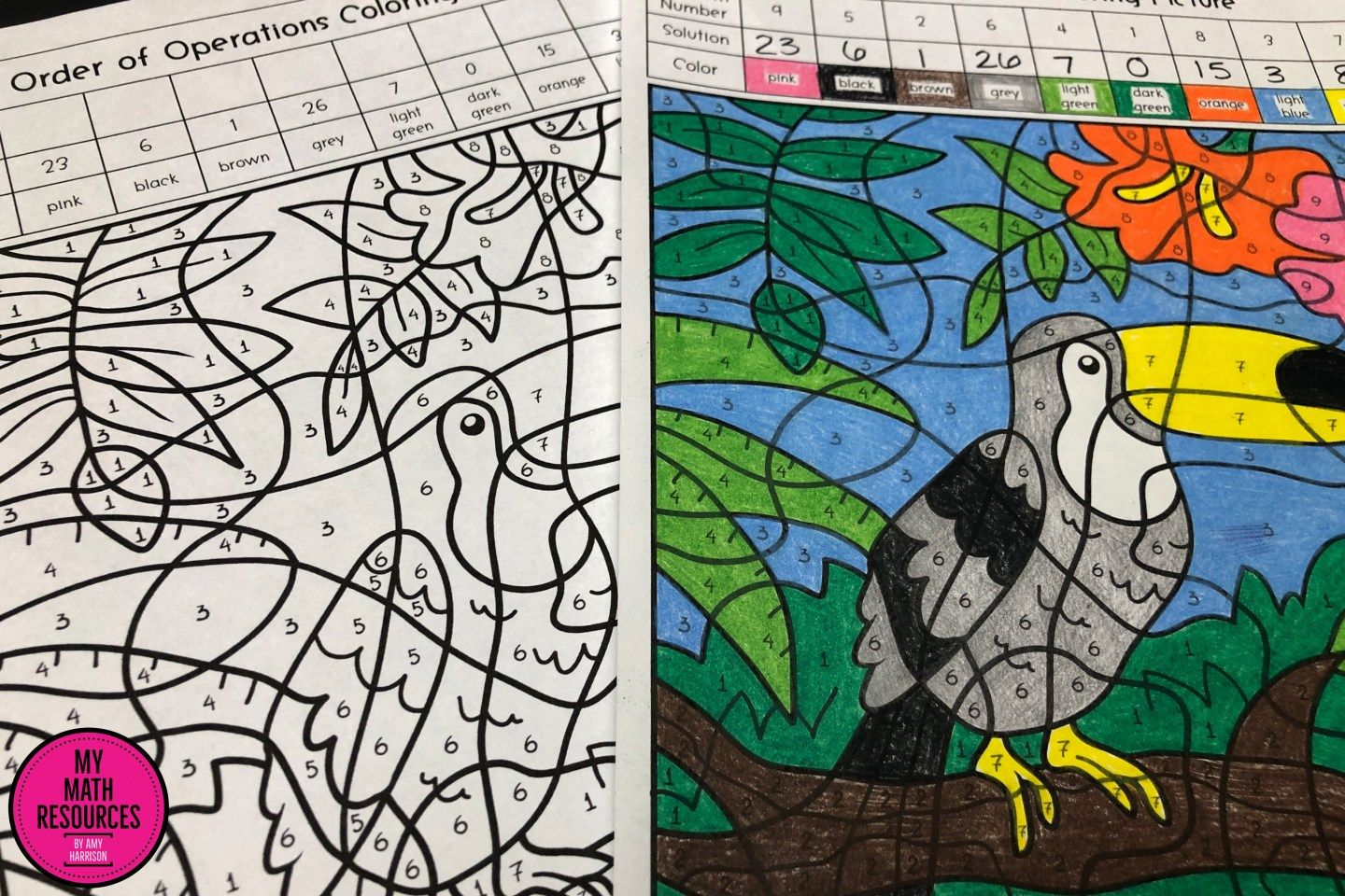 Order Of Operations Toucan Coloring Picture 5 Oa A 1