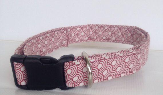 Garnet Circle Adjustable Dog Collar by BarksandBowsLLC on Etsy
