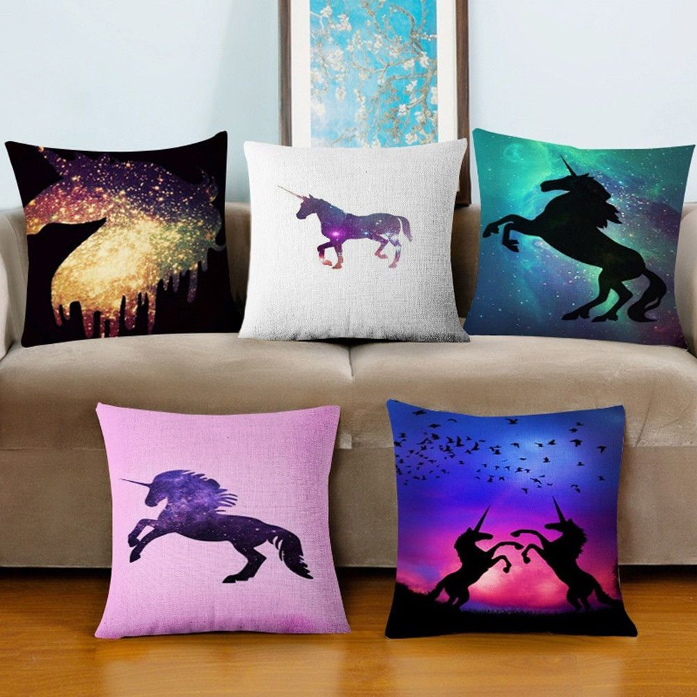 Colorful unicorn pillowcase pillow throw cushion case cover home