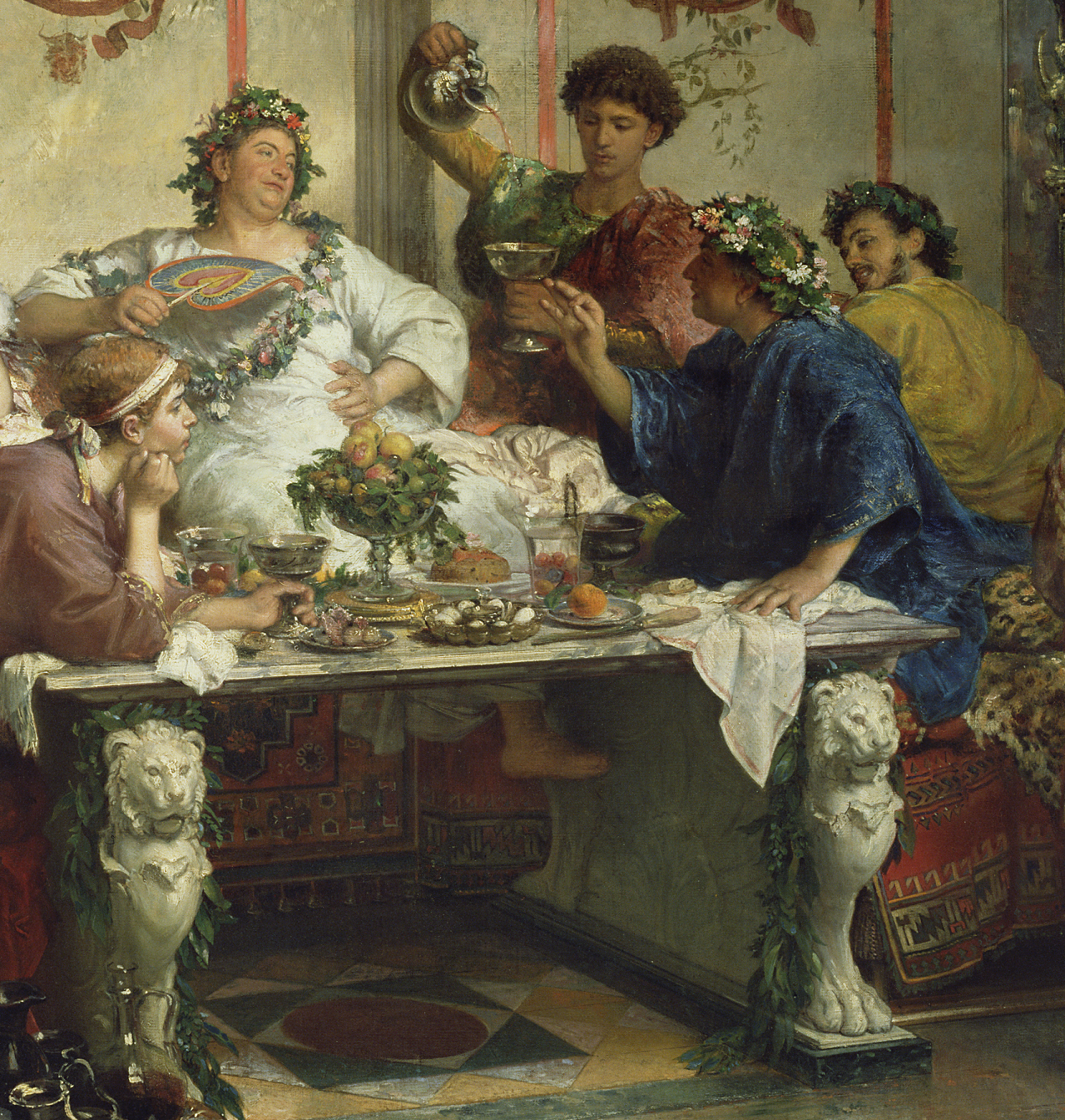 A Roman Feast (and detail) by Roberto Bompiani. Italian, late 19th century