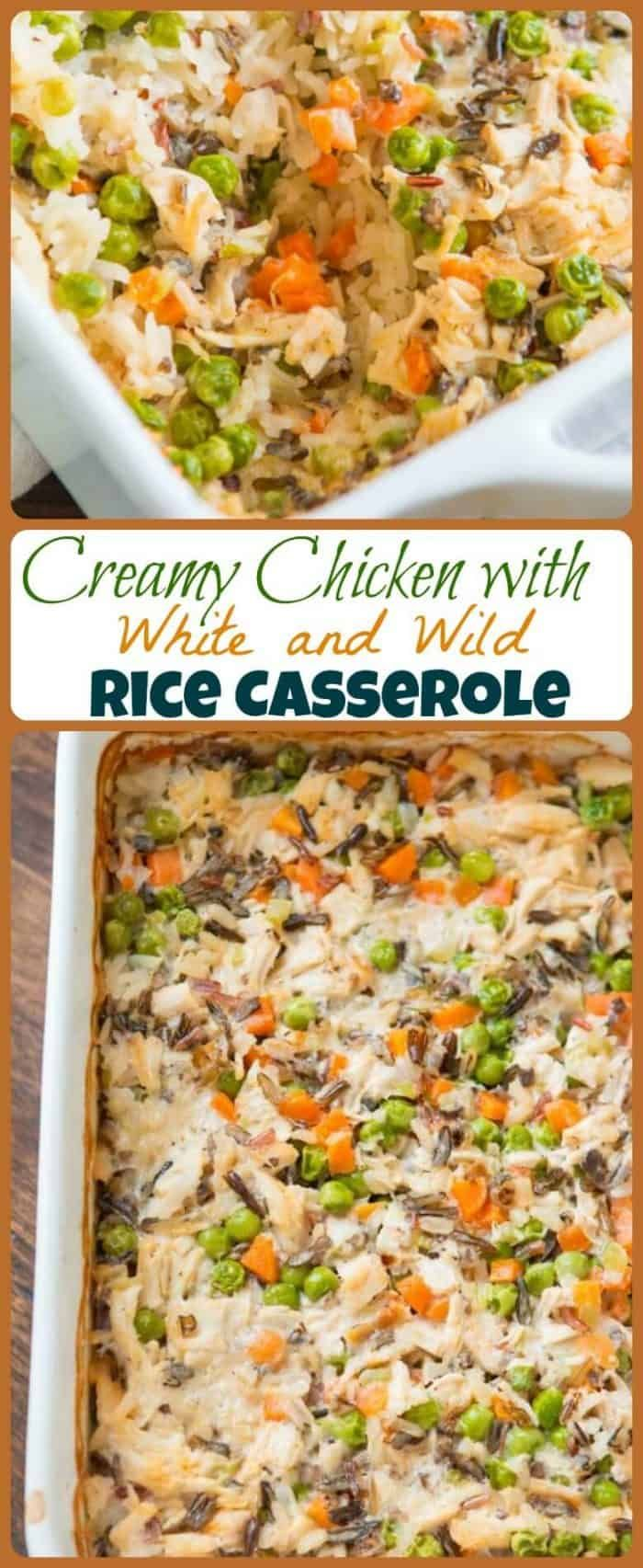 Copycat Milton's Creamy Chicken with White and Wild Rice Casserole #creamychickencasserole