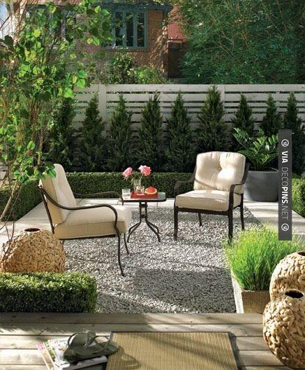 Garden Furniture On Gravel gravel patio. french style gravel patio with stone garden walls