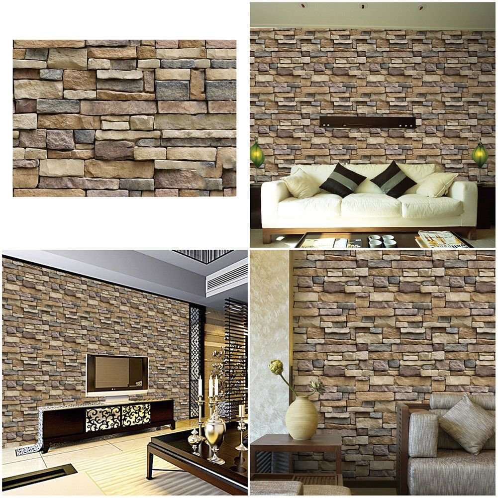Vintage 3D Wall Paper Brick Stone Rustic Effect Self-adhesive Wall Sticker
