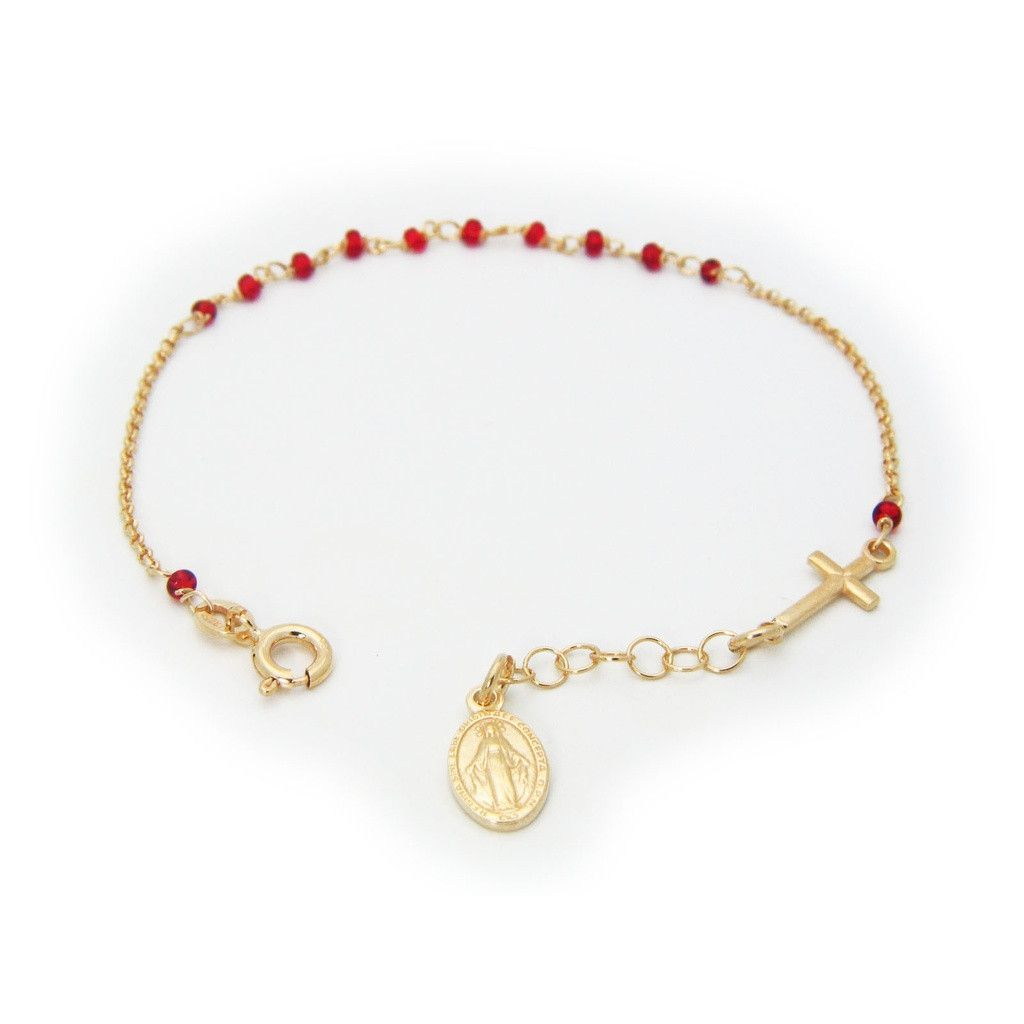 Rosary bracelet for kids sterling silver gold plated red beads and