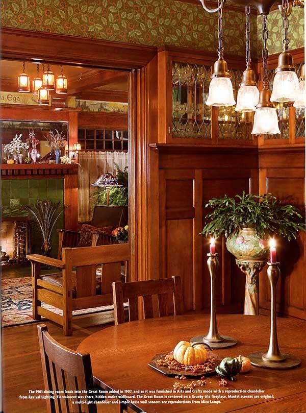 Dining Room With Paneling And Bradbury Bradbury Clementina Wallpaper In Aesthetic Green Art Craftsman Dining Room Craftsman Style Homes Craftsman Interior