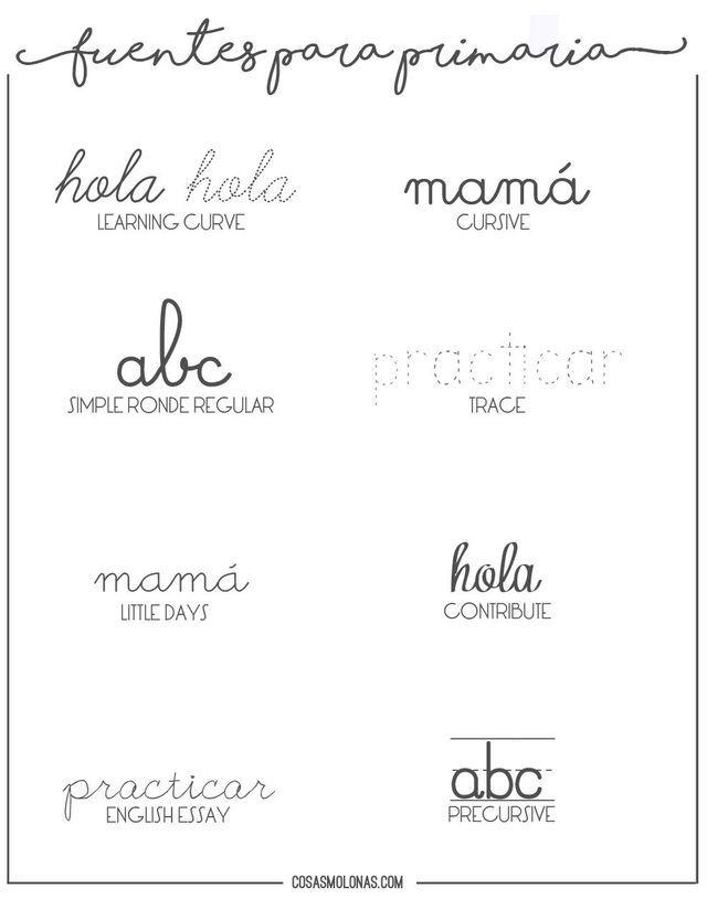 Fuentes Gratuitas Para Practicar Caligrafía De Primaria Cosas Molonas Typography Fonts Lettering Favorite Fonts