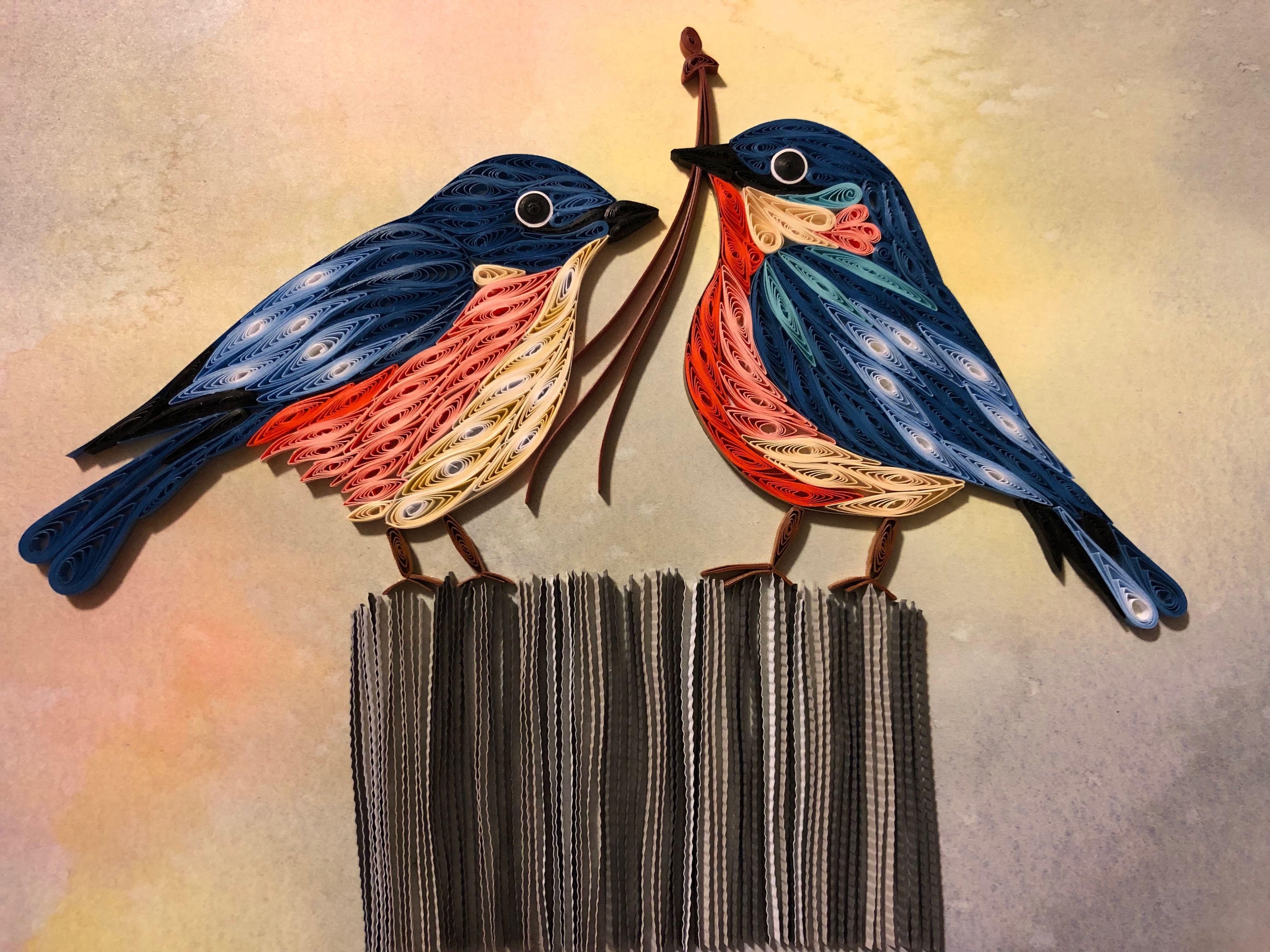 Small bird art original blue tit drawing