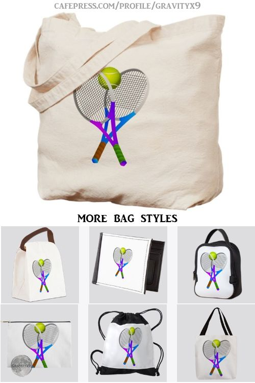 Tennis Rackets and Ball Tote Bag on CafePress by  Meet me on the court Two rackets holding on to a bright yellow tennis ball Great gift for tennis fans tennis players or...