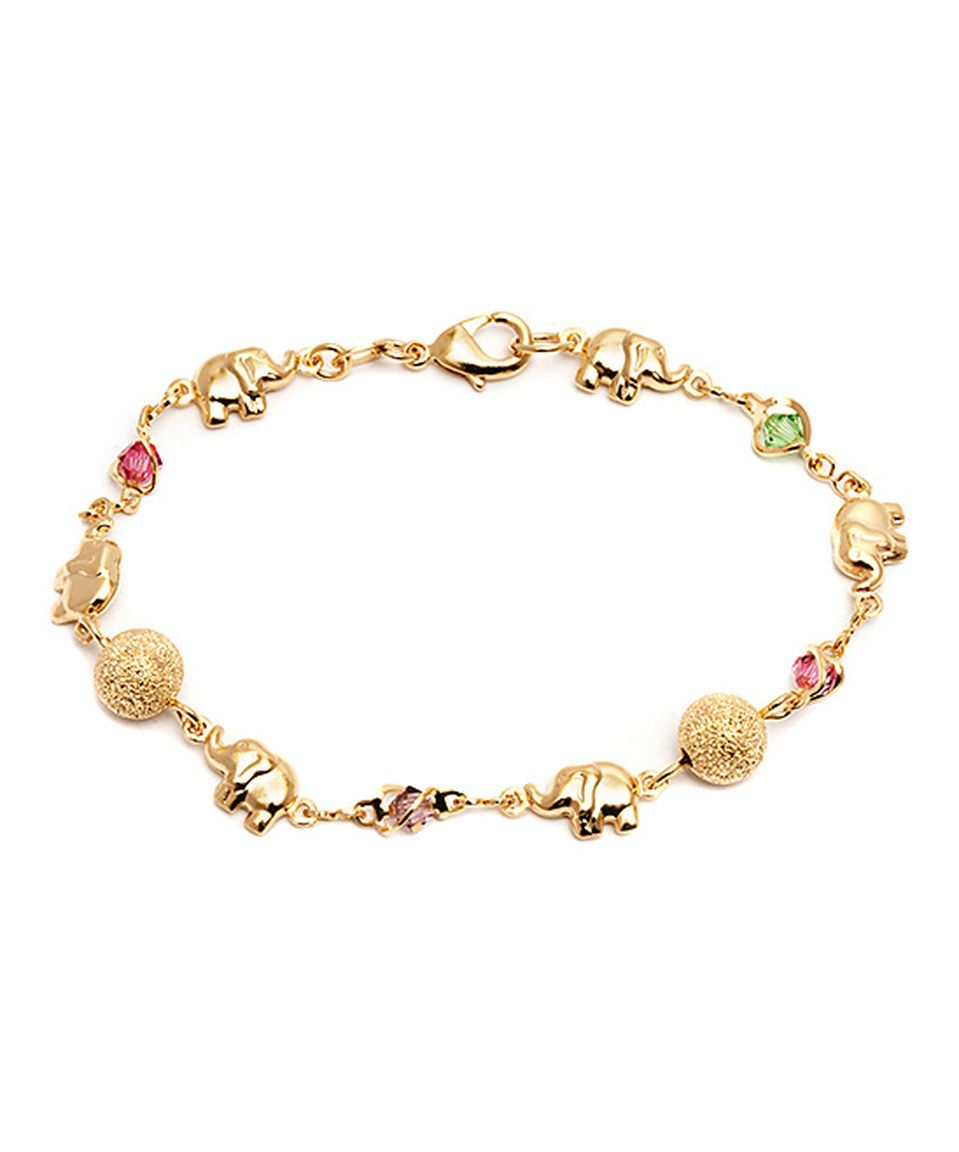 Love this Sevil Designs Pink Crystal & Gold Elephant Bracelet by Sevil Designs on #zulily! #zulilyfinds