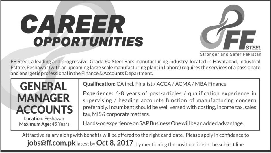 Ff Steel Jobs  In Peshawar For General Manager Accounts Http