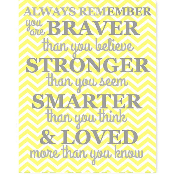 Always Remember Quote Chevron Yellow and Gray Nursery Art Baby Decor... ($14) ❤ liked on Polyvore featuring home, home decor, wall art, home & living, home décor, silver, wall décor, wall hangings, photo wall art and gray home decor