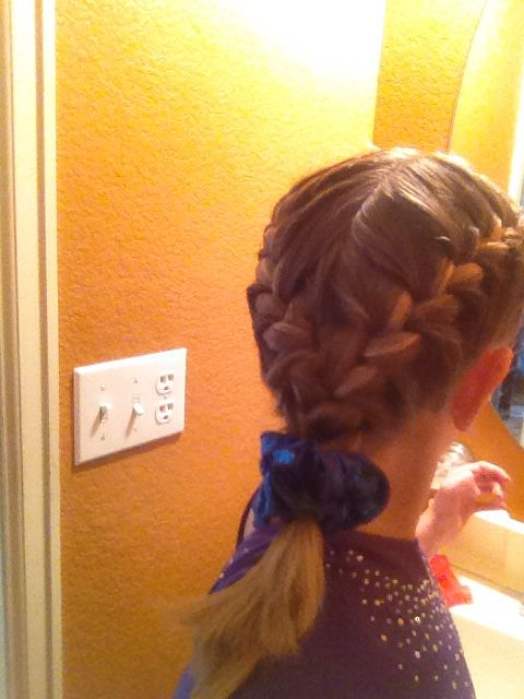 Easy Gymnastics Meet Hairstyle Competition Hair Braided Ponytail Hairstyles Gymnastics Hair
