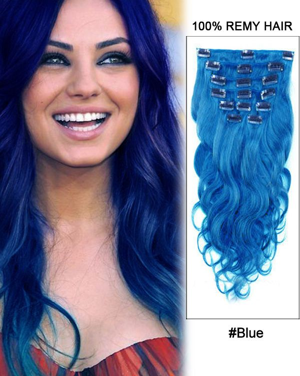 16 7pcs Blue Body Wave 100 Remy Hair Clip In Hair Extensions