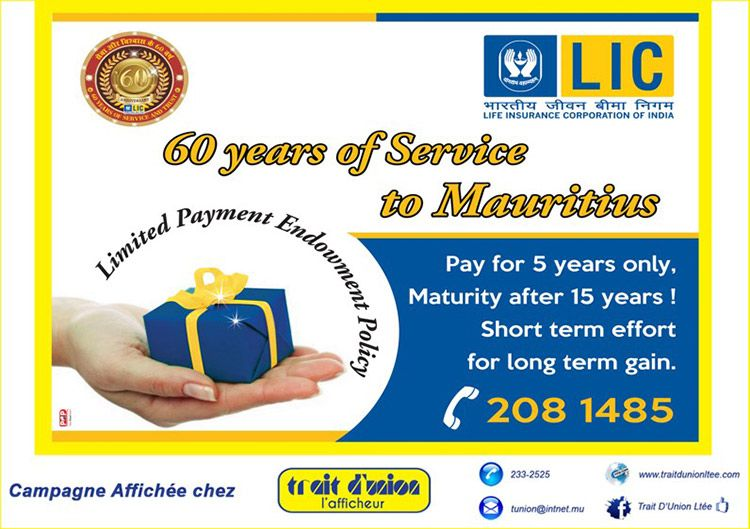 Lic 60 Years Of Service To Mauritius Life Insurance
