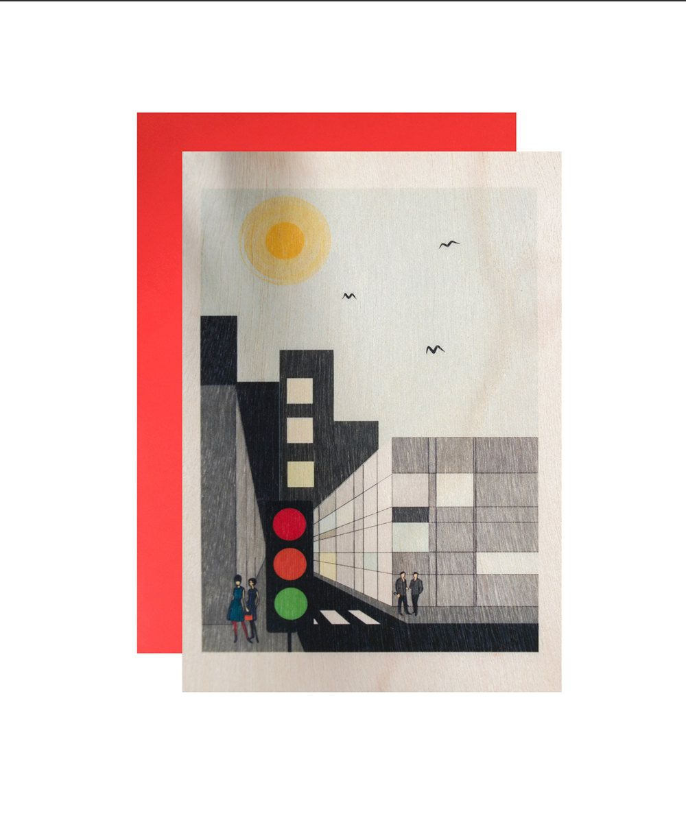 City Streets Blank Greeting Card On Wood by MrJaggers on Etsy