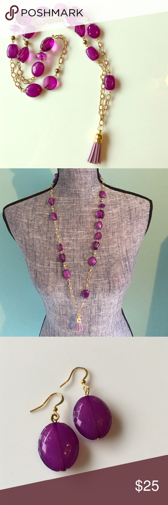 """Boho Gypsy Leather Tassel Necklace Earring Purple 2 piece set: Hand crafted & 1 of a kind! Purple acrylic beaded gold tone necklace with purple leather tassel pendant & matching earrings. Necklace is 33"""" long & pendant is 1.5"""" long. Earrings on gold tone hooks are 1.25"""" long NatureAngels Jewelry Necklaces"""