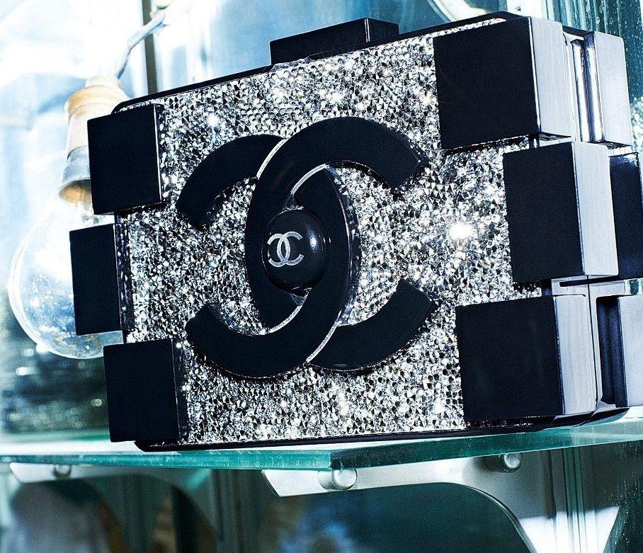 06b26300f62c Chanel brick clutch. Black. Rhinestone. | Candy | Fashion, Bags, Chanel