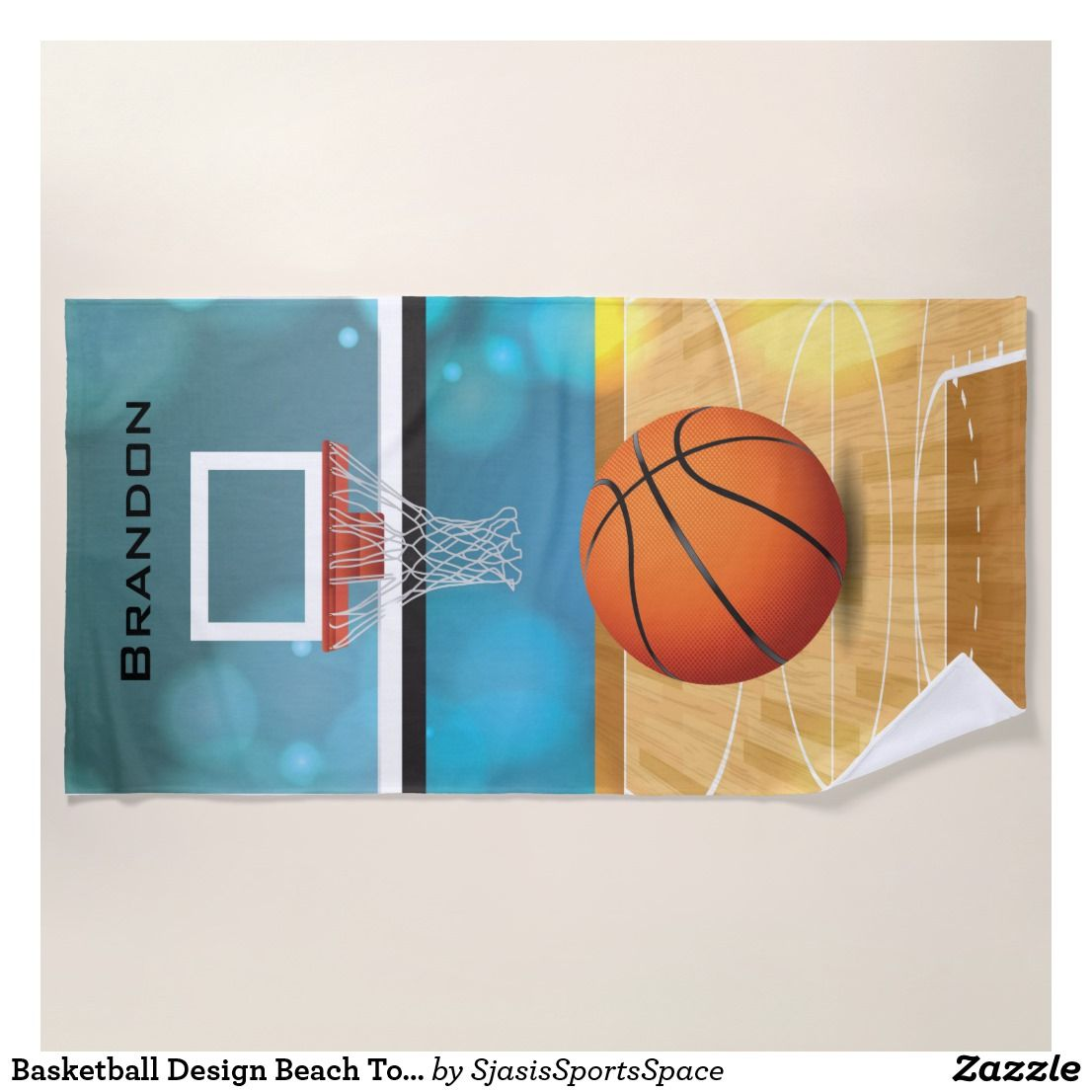 Basketball Design Beach Towel Perfect For A Lover Their Name Is At The Top Hoop And Then Basket Ball On