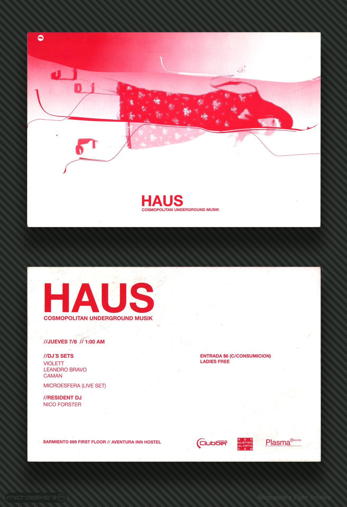 Flyer 2002 - HAUS Cosmopolitan Underground Musik (Aventura Inn ...