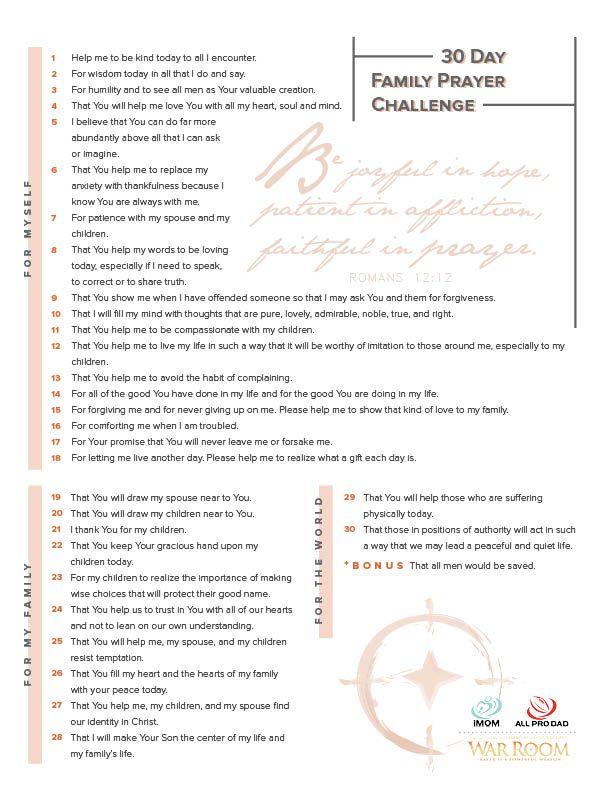 30 Day Family Prayer Challenge | Faith | Prayer for family, Prayer