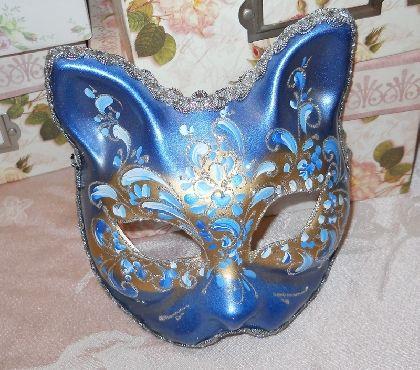 Art Cat Mask handpainted blue silver white glitter birthday party halloween masquerade mask mardi gras wall decor