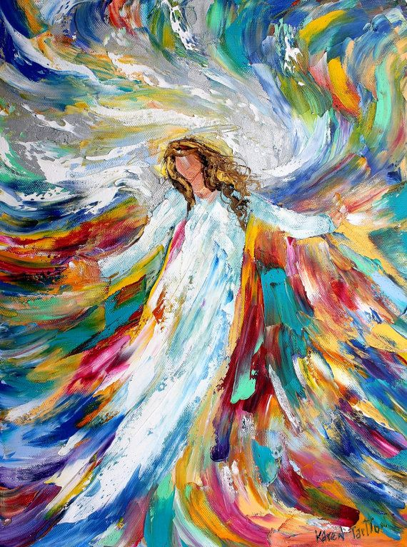 Windswept angel abstract painting original oil on canvas for Angel paintings for sale
