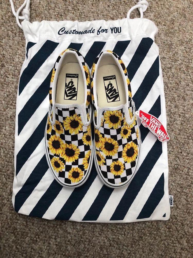 04061877798cc7 Vans Custom Slip On Platform W  Sunflowers Mens Size 5 Or Womens Size 6.5