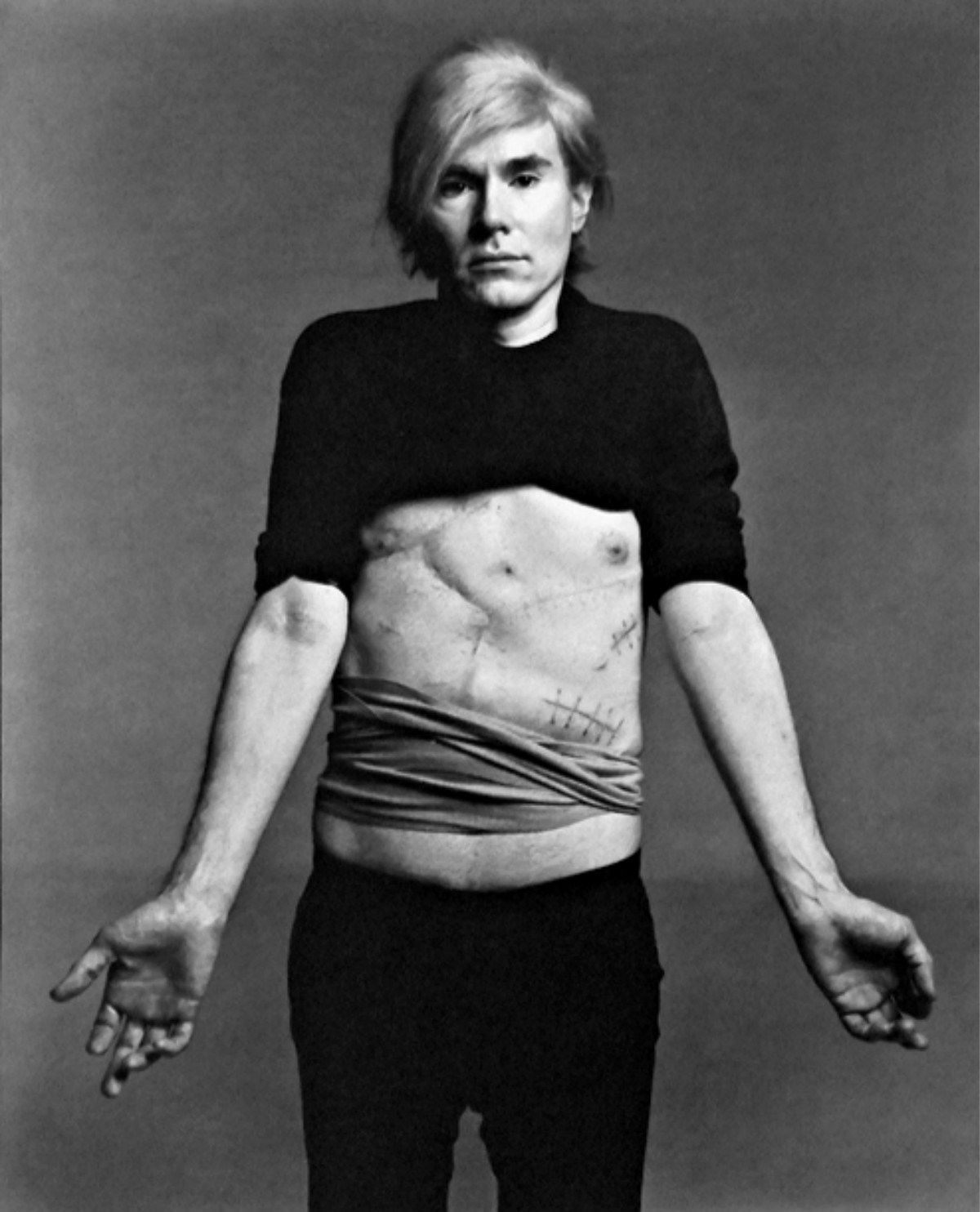 f20f2d9f857 Andy Warhol by Richard Avedon 1987. Here Warhol shows off the scars from  when he was shot in 1968  six organs were pierced by bullets.