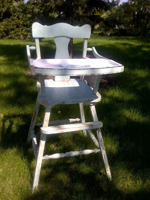 Vintage Primitive Antique Child S High Chair Removable Enameled