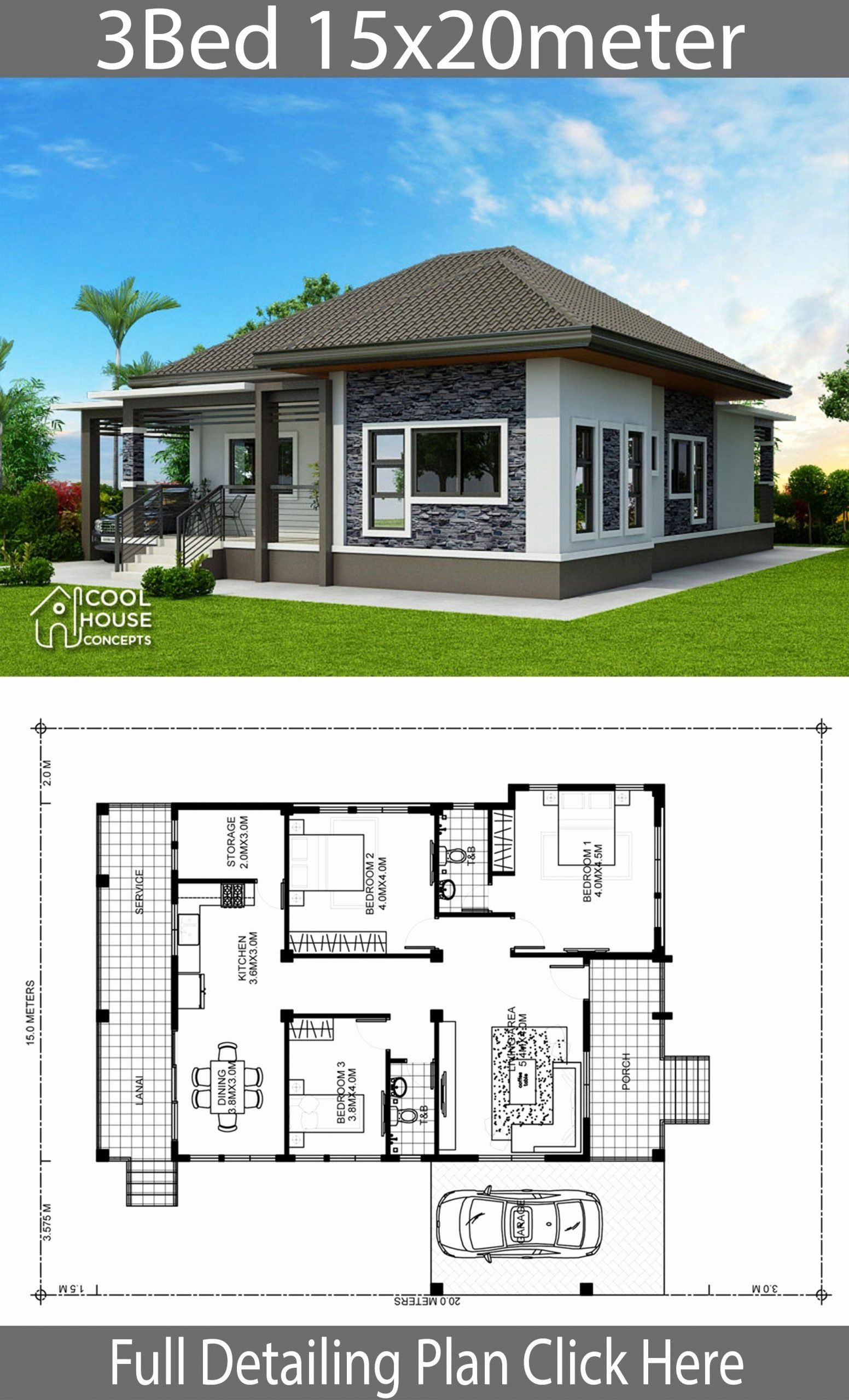 One Home Design Awesome Home Design Plan 15x20m With 3 Bedroomshouse Description E Philippines House Design Modern Bungalow House Simple Bungalow House Designs