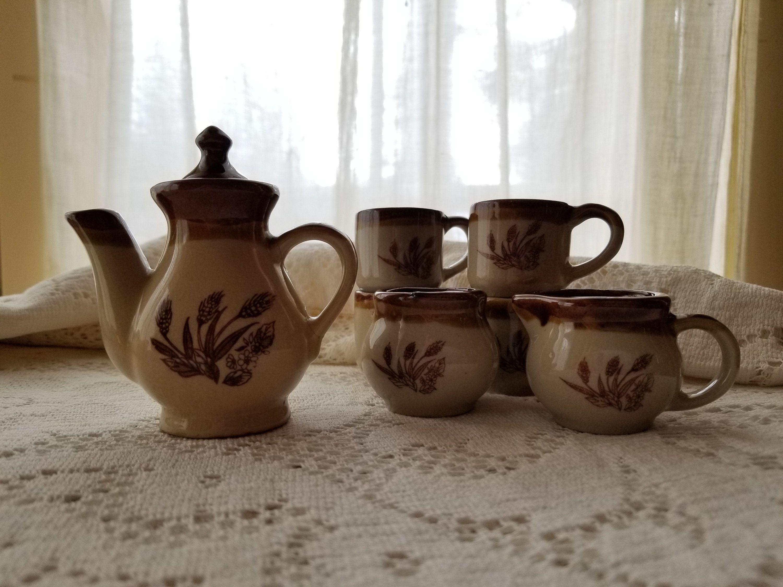 miniature tea set, Childs tea set, Faery tea set, Doll tea pot and mugs, American Primitive brownware with wheat detail #teapotset