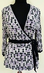 Cute flattering purple black polka dot tie belt blouse top wrap shirt APT 9 XL