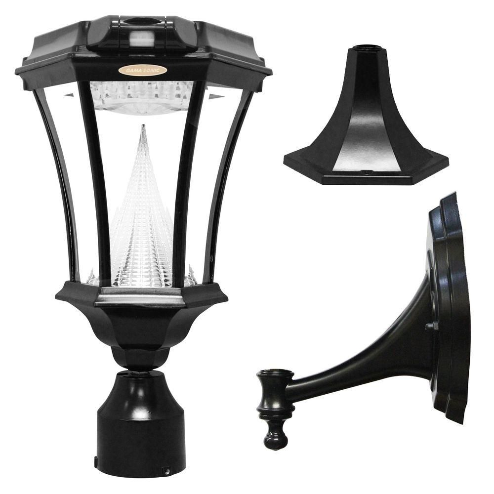 Gama Sonic Victorian Single Black Integrated Led Outdoor Solar Lamp With 3 Mounting Options And Motion Sensor Gs 94pir Fpw The Home Depot Solar Lamp Outdoor Solar Lamps Solar Lamp Post