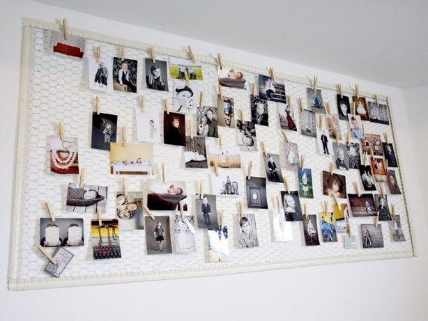 foto kaarten collage wandbord van kippengaas met een lijst eromheen zo groot te maken als je. Black Bedroom Furniture Sets. Home Design Ideas