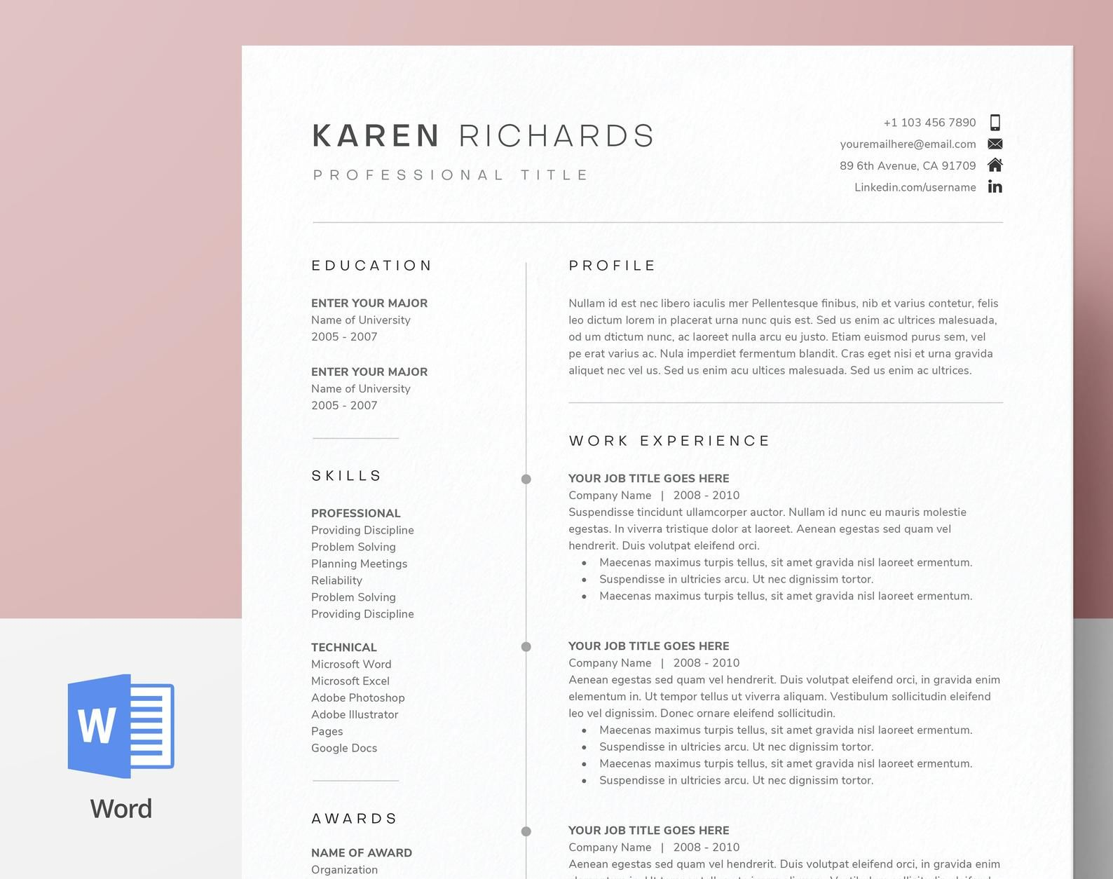 Modern, Clean One Page Resume Template CV Template