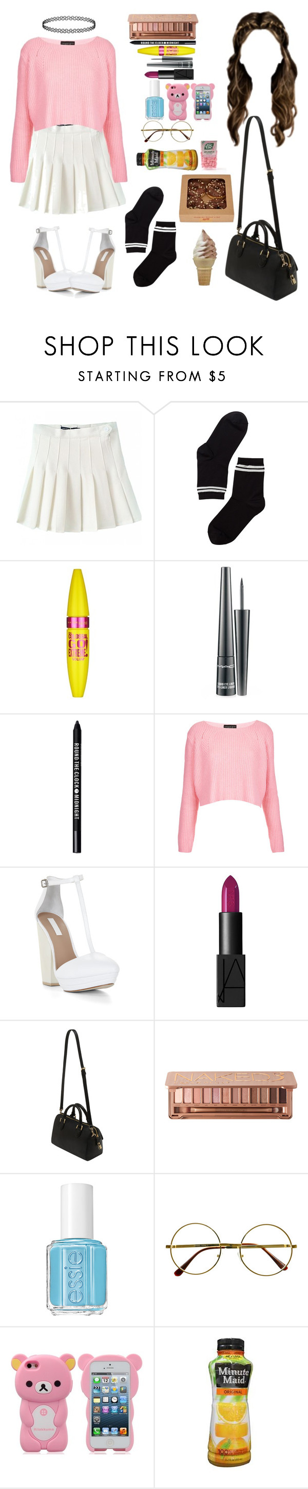 """Untitled #538"" by manuuhwang ❤ liked on Polyvore featuring Monki, Maybelline, MAC Cosmetics, Bare Escentuals, Topshop, BCBGMAXAZRIA, NARS Cosmetics, Mulberry, Urban Decay and Essie"