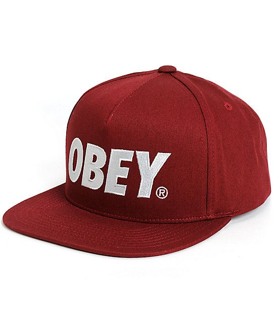 d8dd326dcdc Look your best with a classic grey Obey text embroidered at the front of a  maroon crown with a lightweight cotton construction for comfort.