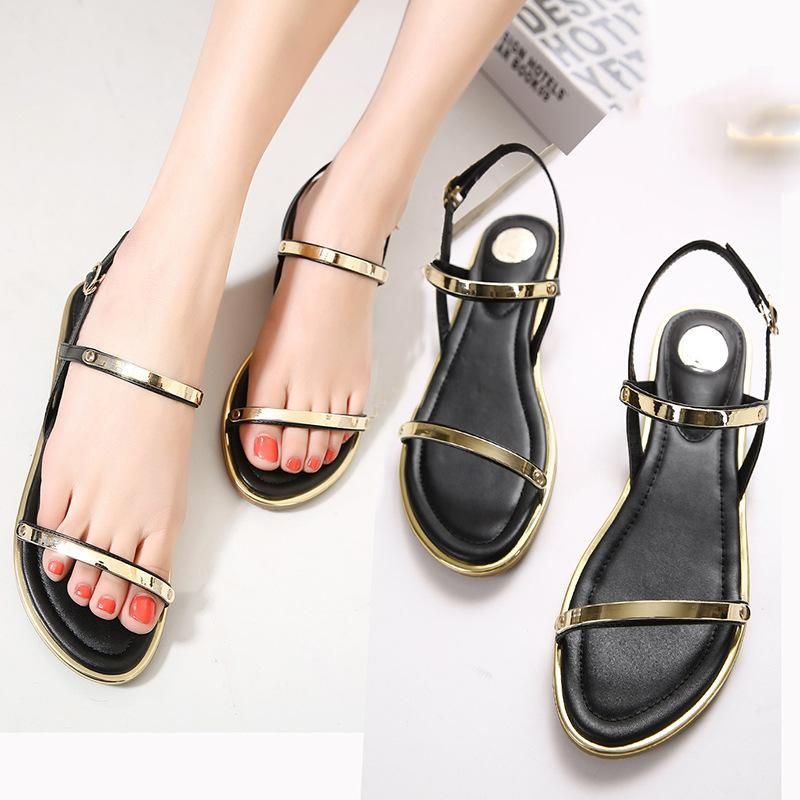 9bdb74705 Comfortable Ankle Strap Flat Casual Sandals Women High Quality Buckle Strap  Sandals